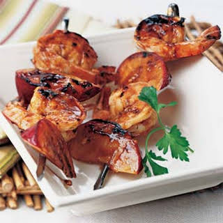 Grilled Shrimp-and-Plum Skewers with Sweet Hoisin Sauce.