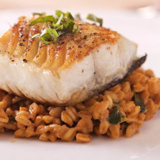 Farro Risotto with Pan Seared Black Cod.