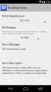 App BIOS Beep computer error codes APK for Windows Phone