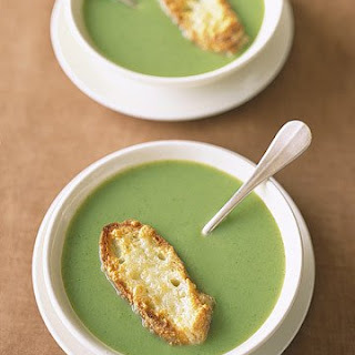 Broccoli Soup with Cheddar Toasts.