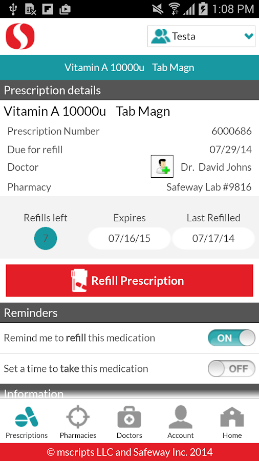 Safeway Pharmacy- screenshot