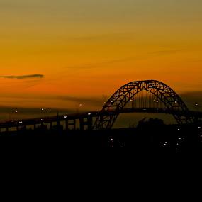My town by Cecilie Hansteensen - City,  Street & Park  Night ( fredrikstad, sunset, night, town, bridge, city, norway,  )