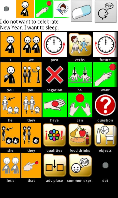 AAC speech communicator - screenshot
