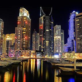The Docks by CJ Cantos - City,  Street & Park  Night ( colors, dubai marina, travel, nightscape, night photography, dubai, color, travel location, wide angle, night, long exposure, night shot, travel photography )