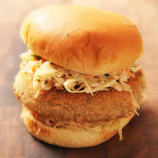 Crispy Fried Chickpea Cake and Slaw Sandwiches.