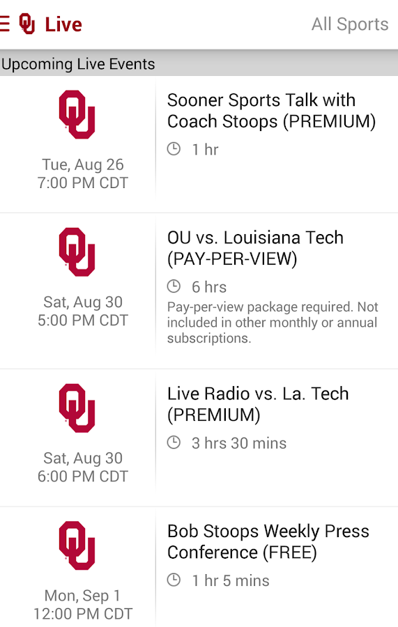 SoonerSports2Go - screenshot