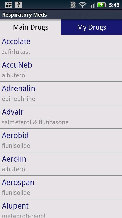 Respiratory Meds - screenshot