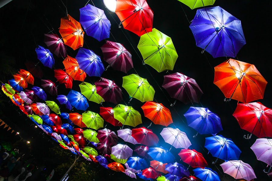 Colorful umbrella by Siti Hana Iryani - Artistic Objects Other Objects ( , city at night, street at night, park at night, nightlife, night life, nighttime in the city )
