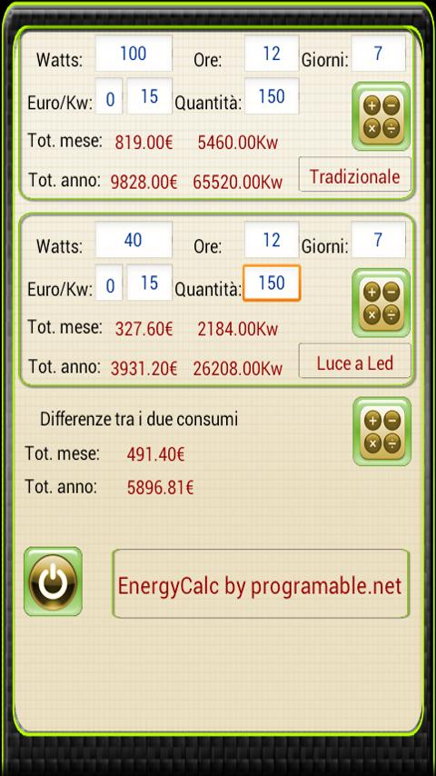 Calcolatrice Energetica - screenshot
