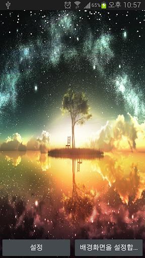 눈날리는 라이브배경 호수와 나무 한 그루