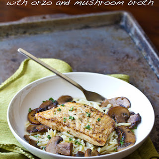 Mushroom Broth over Brown Butter Seared Halibut.