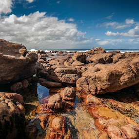 by Randall Langenhoven - Landscapes Beaches ( st james, wide angle, rock, capetown, beach, rocks, coastal, formation )