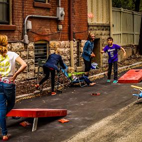 Cornhole Alley Campionship by Stephanie Turner - People Street & Candids ( children candids, candid, game, kids, street scene )