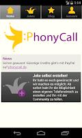 Screenshot of PhonyCall Telefonstreiche