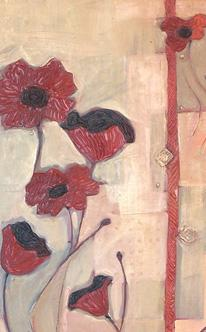 Tile Painitng-Beautiful Red Flowers