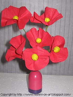 Crape Paper-Red Orchids