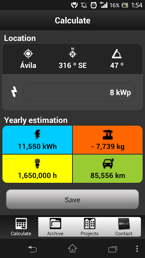 Photovoltaic Estimation App - screenshot