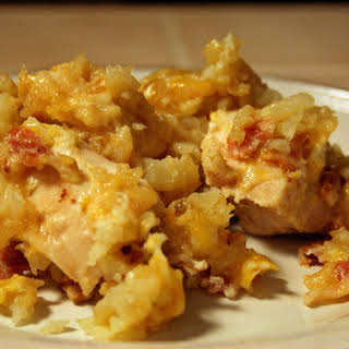 Crock-Pot Cheesy Chicken Tater Tot Casserole.