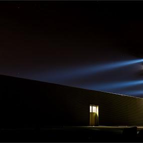 Bragi Kort, bkort photography, Iceland, building, golf course training shed, gol, training shed, Iceland, light, long exposure, star effect, light poles, light by Bragi Kort - Buildings & Architecture Public & Historical