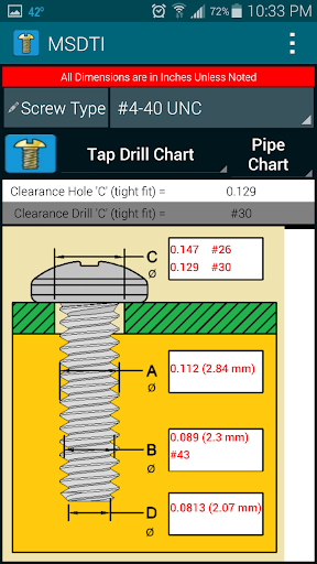 Machine Screws Drill Tap Info