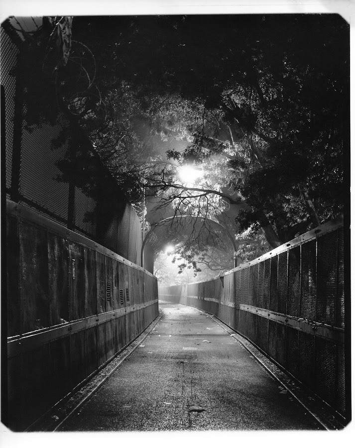 South Brooklyn by Anton Foton - Black & White Landscapes ( black and white, electrical light, silver gelatin print, night, brooklyn )