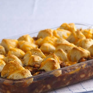 Cheesy Biscuit Bean and Beef Casserole.