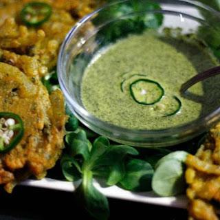 Onion Pakoras with Green Chutney.