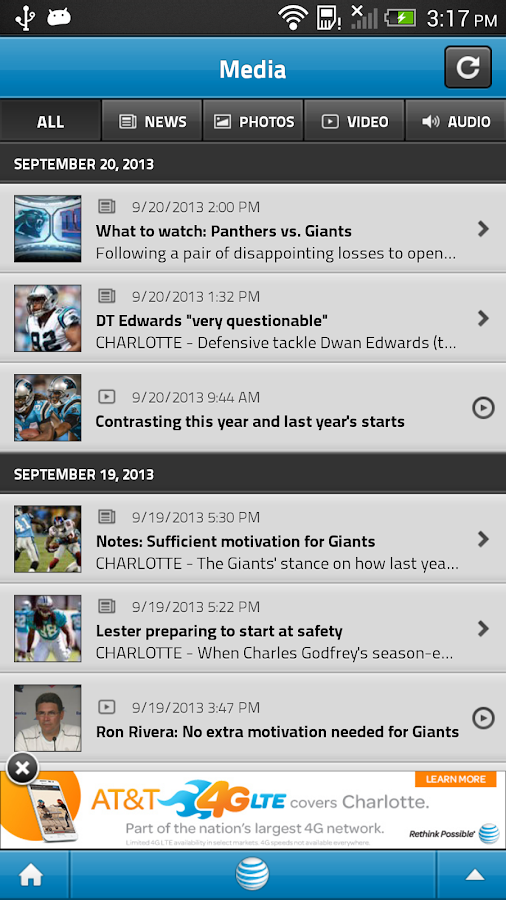 Carolina Panthers Mobile - screenshot