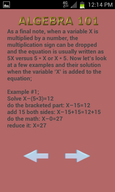 Algebra 102- screenshot