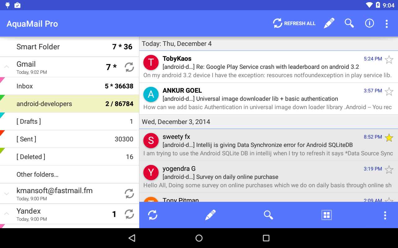 Aqua Mail - klient poczty - screenshot