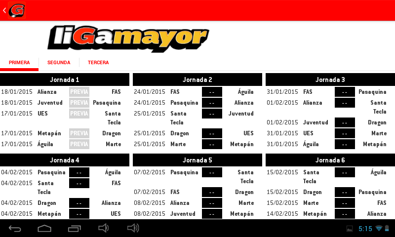 Liga Mayor- screenshot