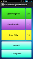 Screenshot of Bills, Credit Payment Reminder