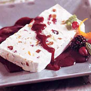 Ginger, Fig, and Cranberry Semifreddo with Blackberry Sauce.