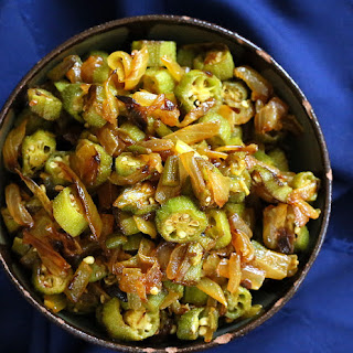 Okra and Onion Stir fry. Mom's Pyaaz Waali Bhindi.