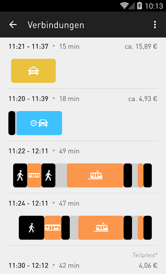 moovel - Route planner - screenshot
