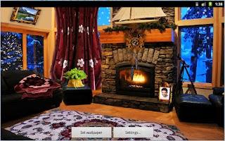 Screenshot of Romantic Fireplace LWP