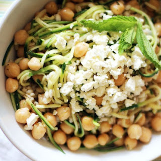 Chickpea, Barley and Zucchini Ribbon Salad with Mint and Feta.