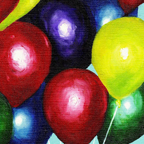 Balloons by Veronica Blazewicz - Painting All Painting ( birthday, special occasion, colorful, still life, art, fun, party, balloons, balloon, oil painting, painting, artwork )