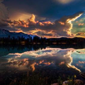sunset ove Lac Beauvert by Doug Clement - Landscapes Sunsets & Sunrises ( clouds, water, reflection, sunset, landscape, golden hour, sunrise )
