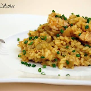 Rice with Chicken, Wild Mushrooms and Eggplant.