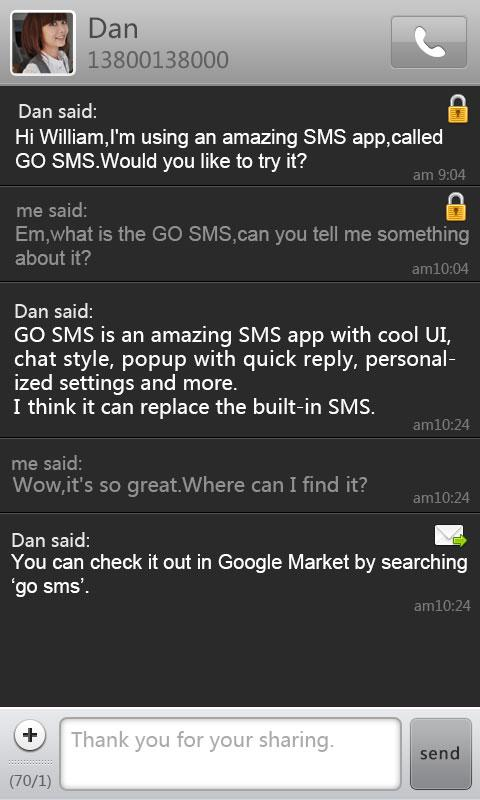 GO SMS Pro Dark Theme - screenshot