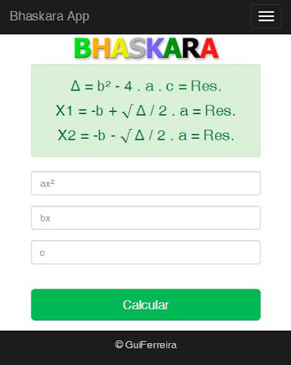 Bhaskara Calculator