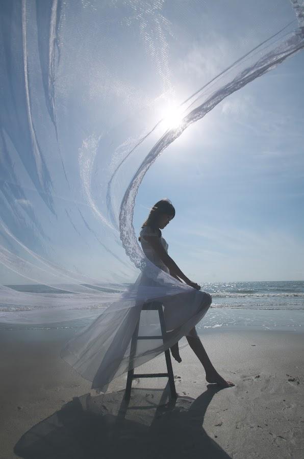 The Curve by Evander Kek - People Portraits of Women ( wind, girl, dress, sunrise, beach )