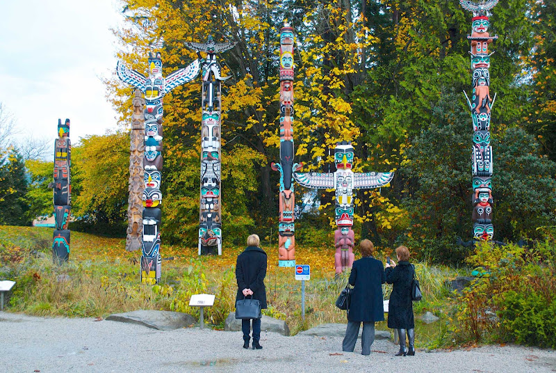 A view of totem poles or story poles in Stanley Park, Vancouver, British Columbia