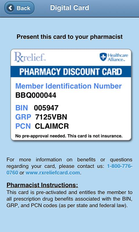 RxRelief Card Mobile - screenshot