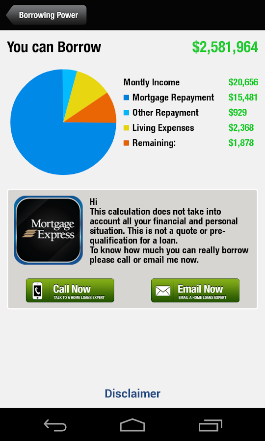 Mortgage Express - Calculators- screenshot
