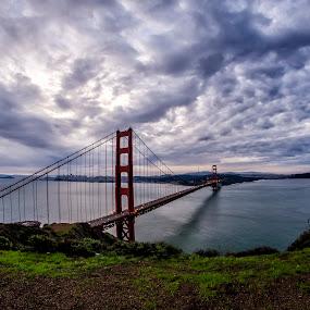 Golden Gate Bridge by Sarthak Bisaria - Buildings & Architecture Bridges & Suspended Structures ( clouds, fisheye, golden gate bridge, sunrise, landscape, san francisco,  )