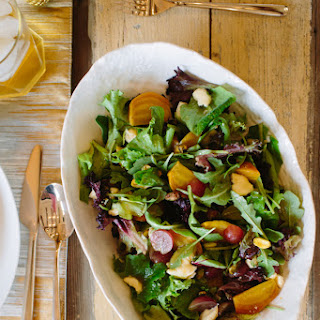 Golden Beet, Grape & Pistachio Salad with Maple Dressing.