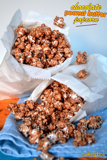 (healthier) Chocolate and Peanut Butter Popcorn