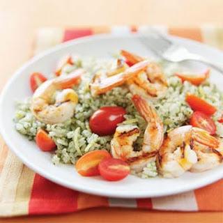Grilled Shrimp with Lemon-Pesto Rice.